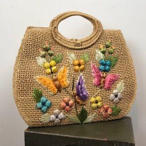 🌸Vintage 1960 Woven Straw Floral Cabana Beach Bag